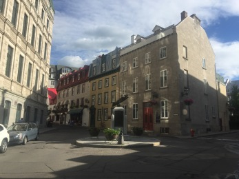 Fork in the road in Old City Quebec